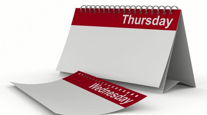 Calendar for thursday on white background. Isolated 3D image